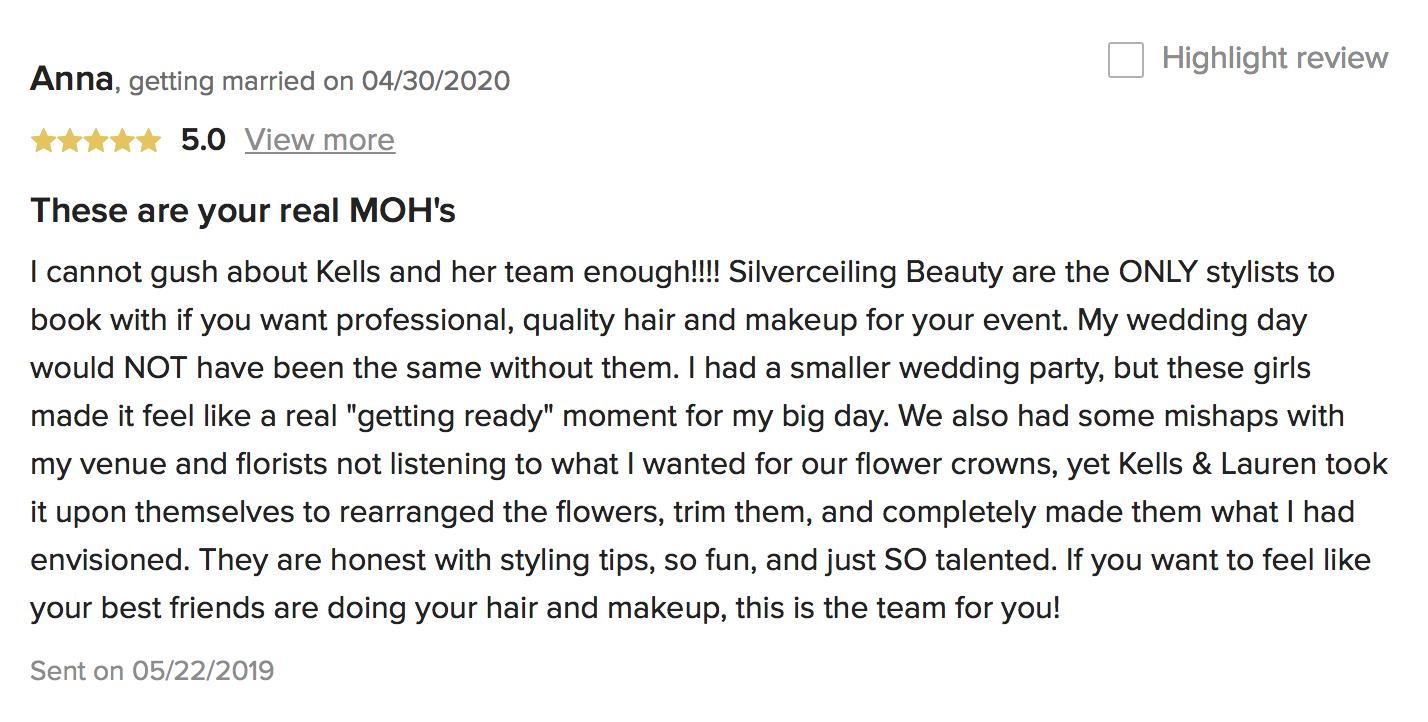 Neuse Breeze wedding reviews hair and makeup