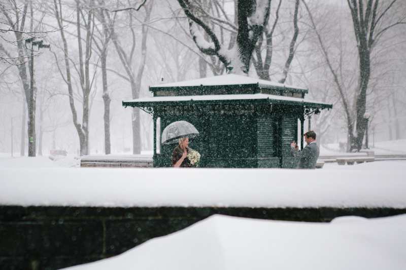 central park on a snowy day wedding