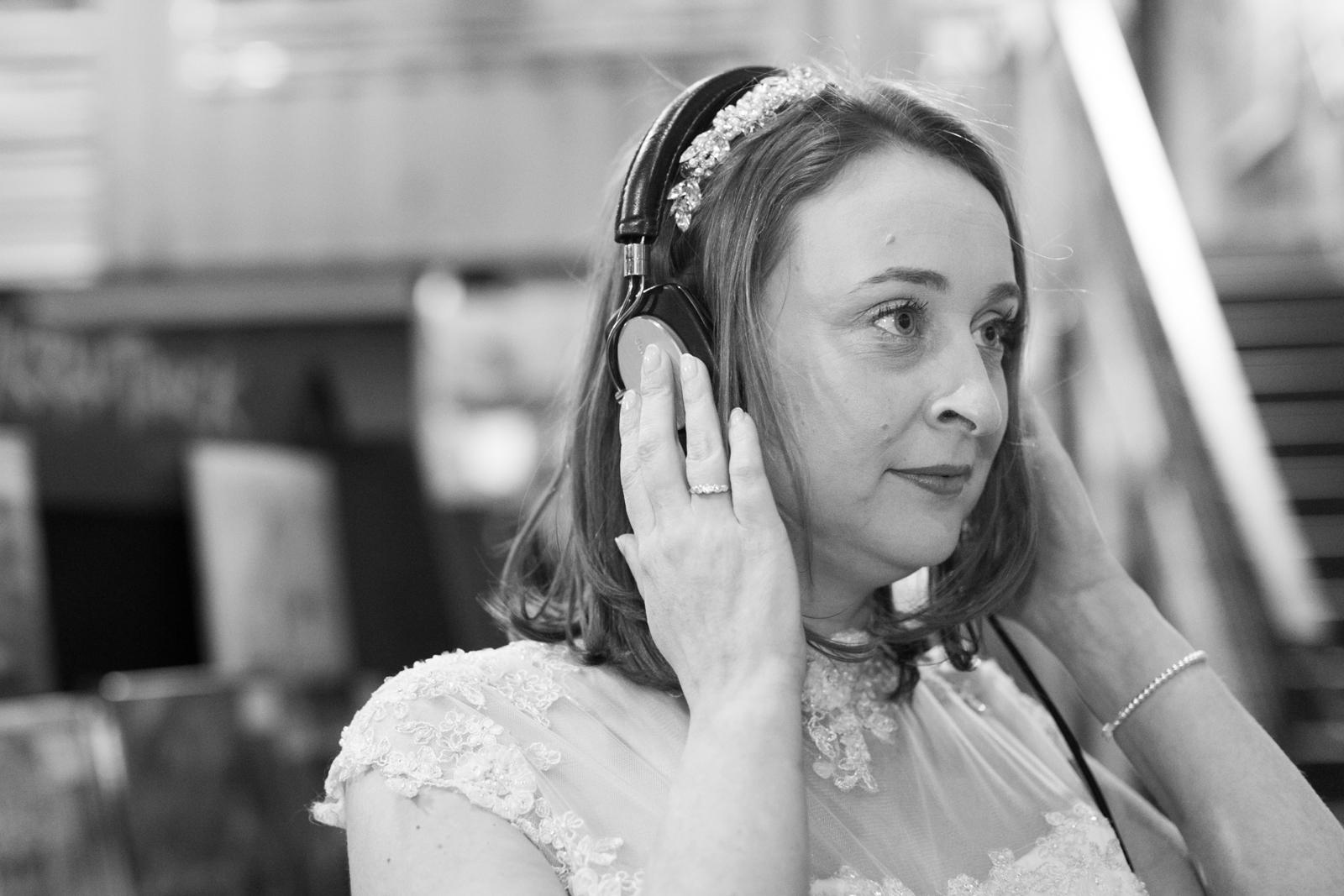 bride at a record shop