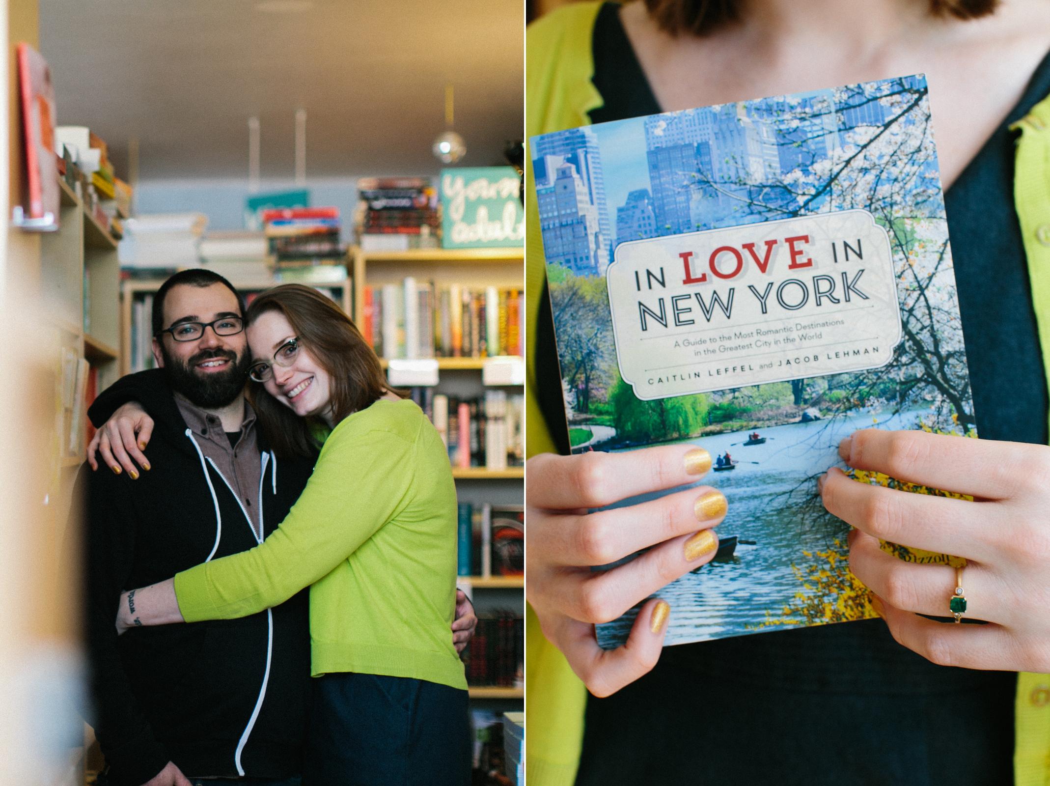bookstore engagement photos brooklyn