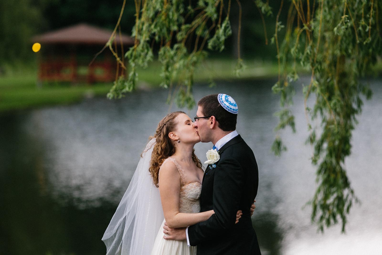 Jewish wedding kiss