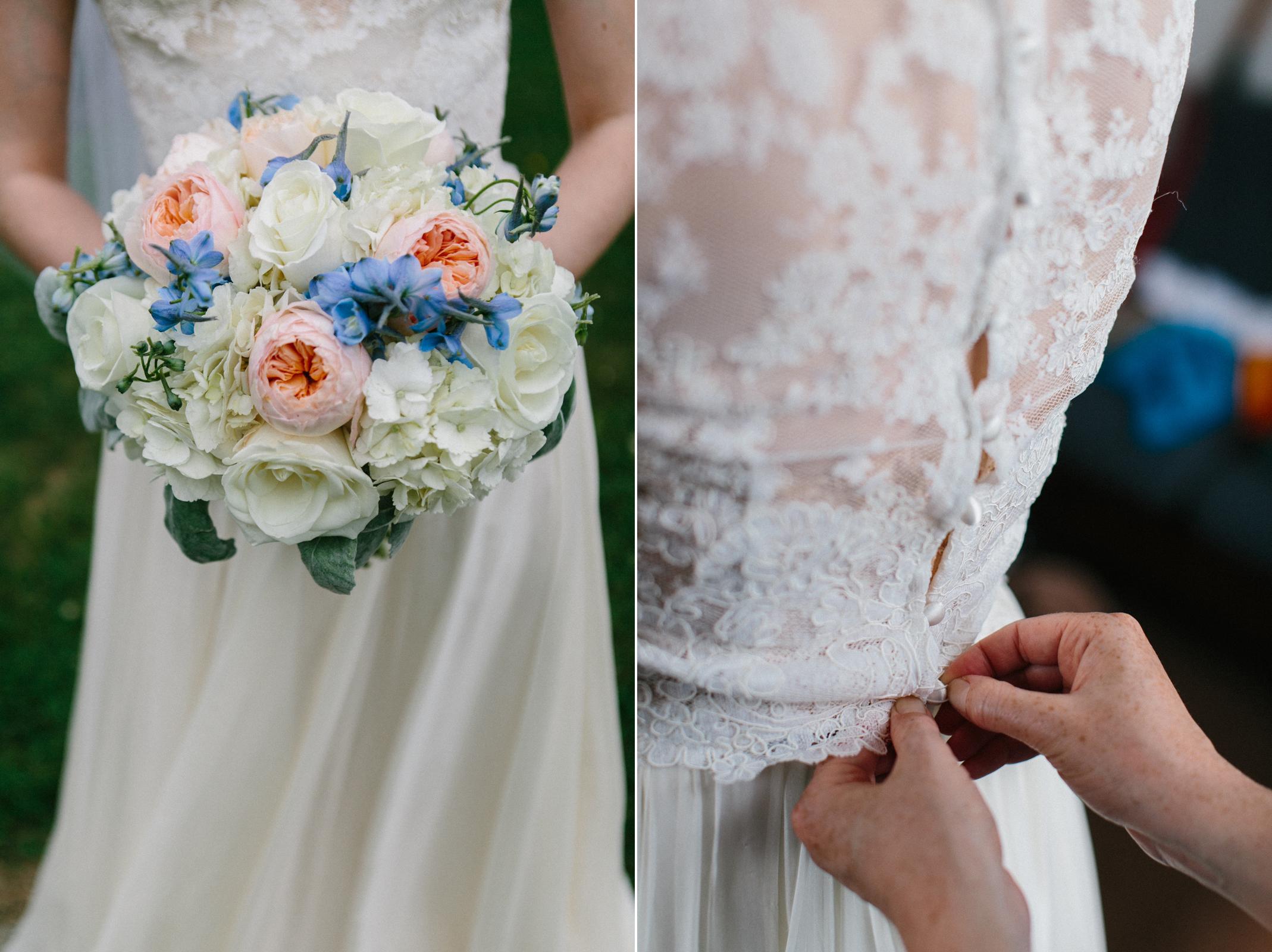 wedding bouquet and dress