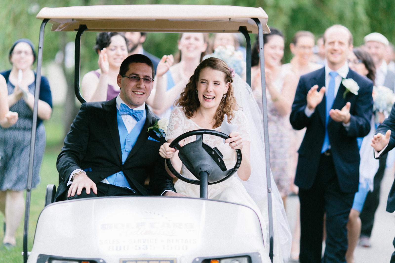 bride driving golf cart