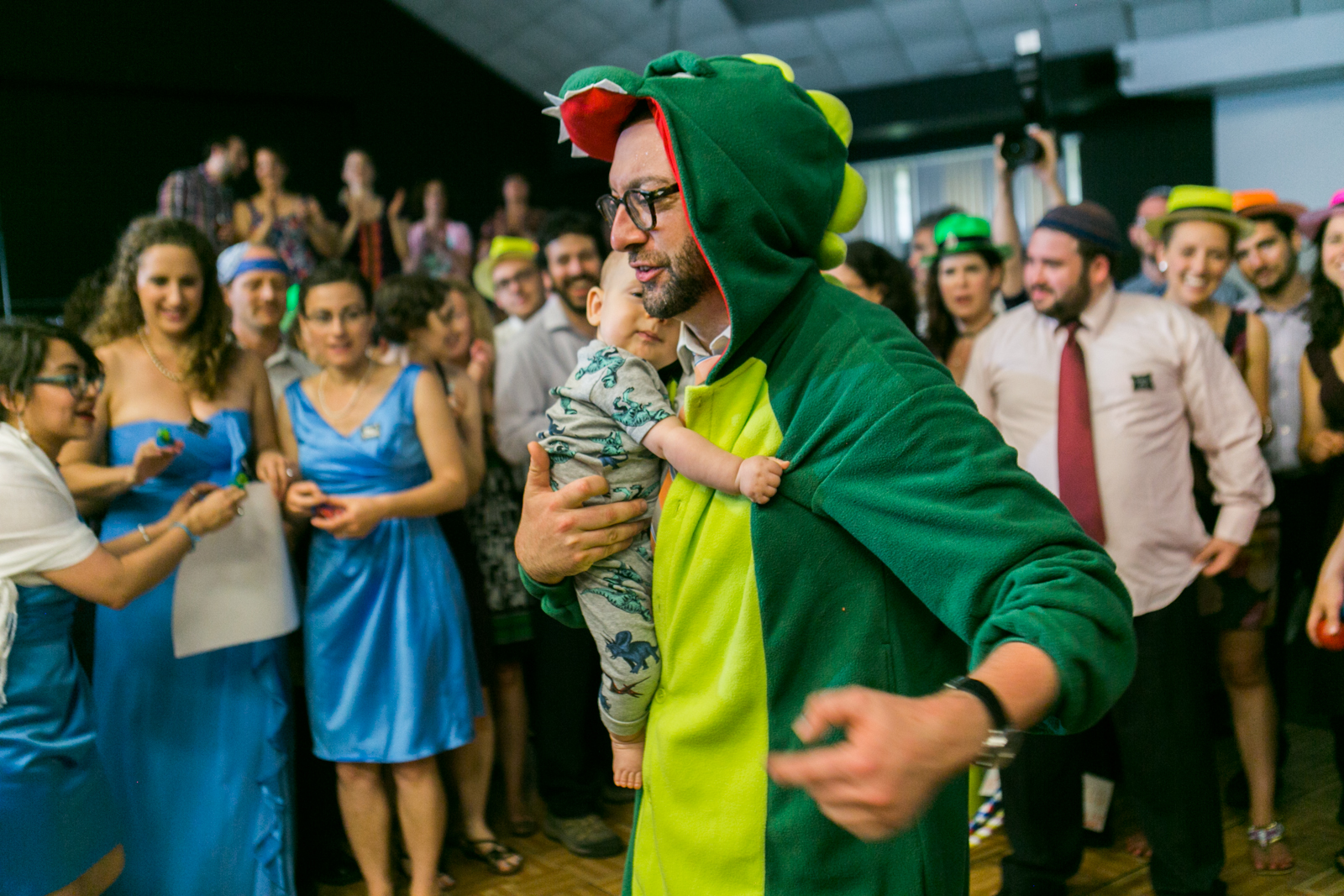 dinosaur costume and baby