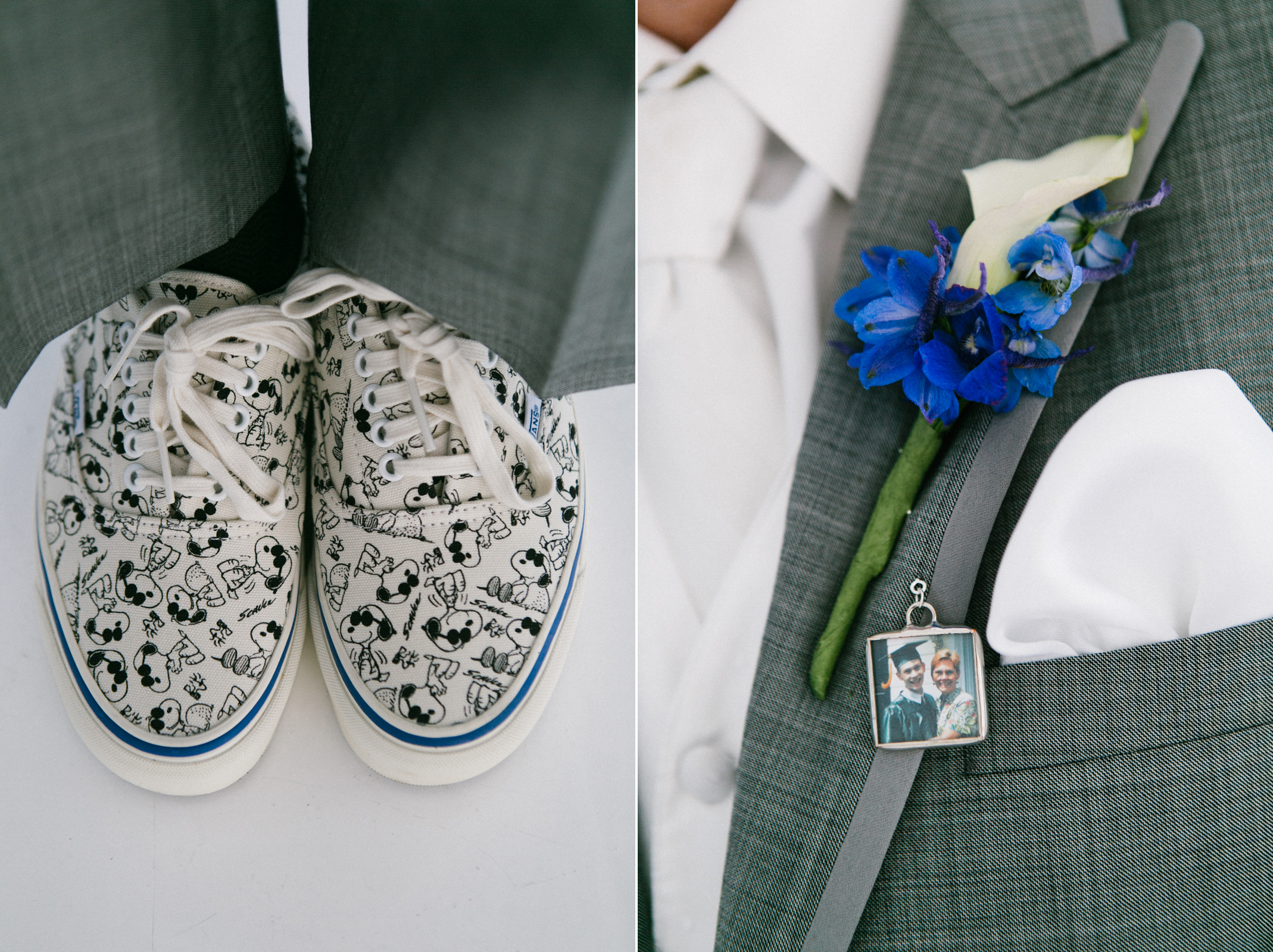 Groom shoes and boutonniere