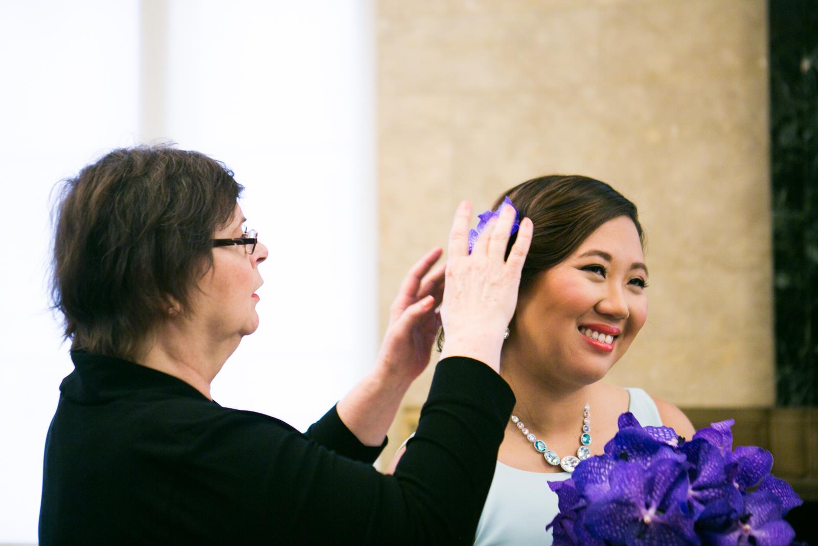 bride hair flower
