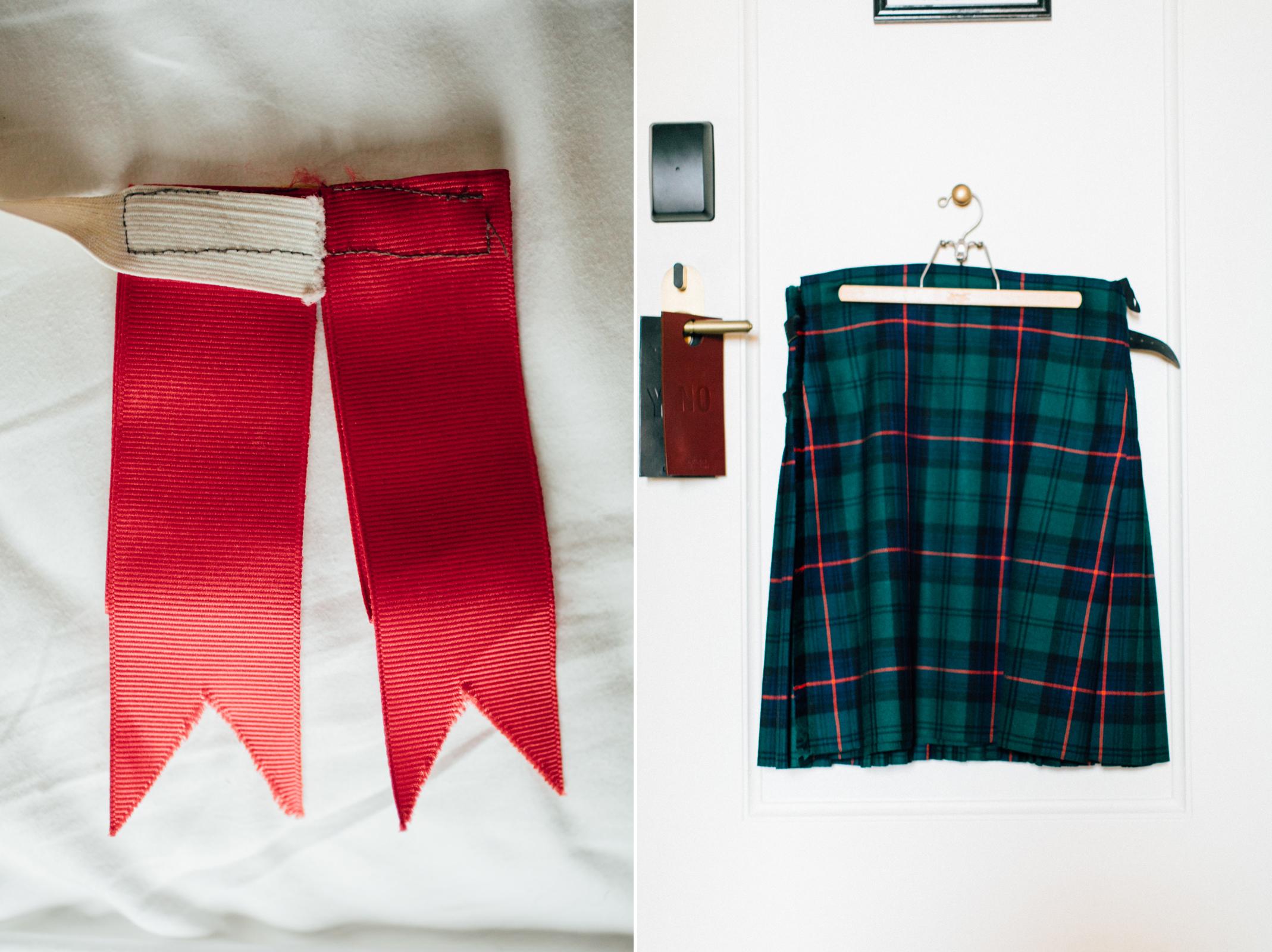 groom kilt & ribbons