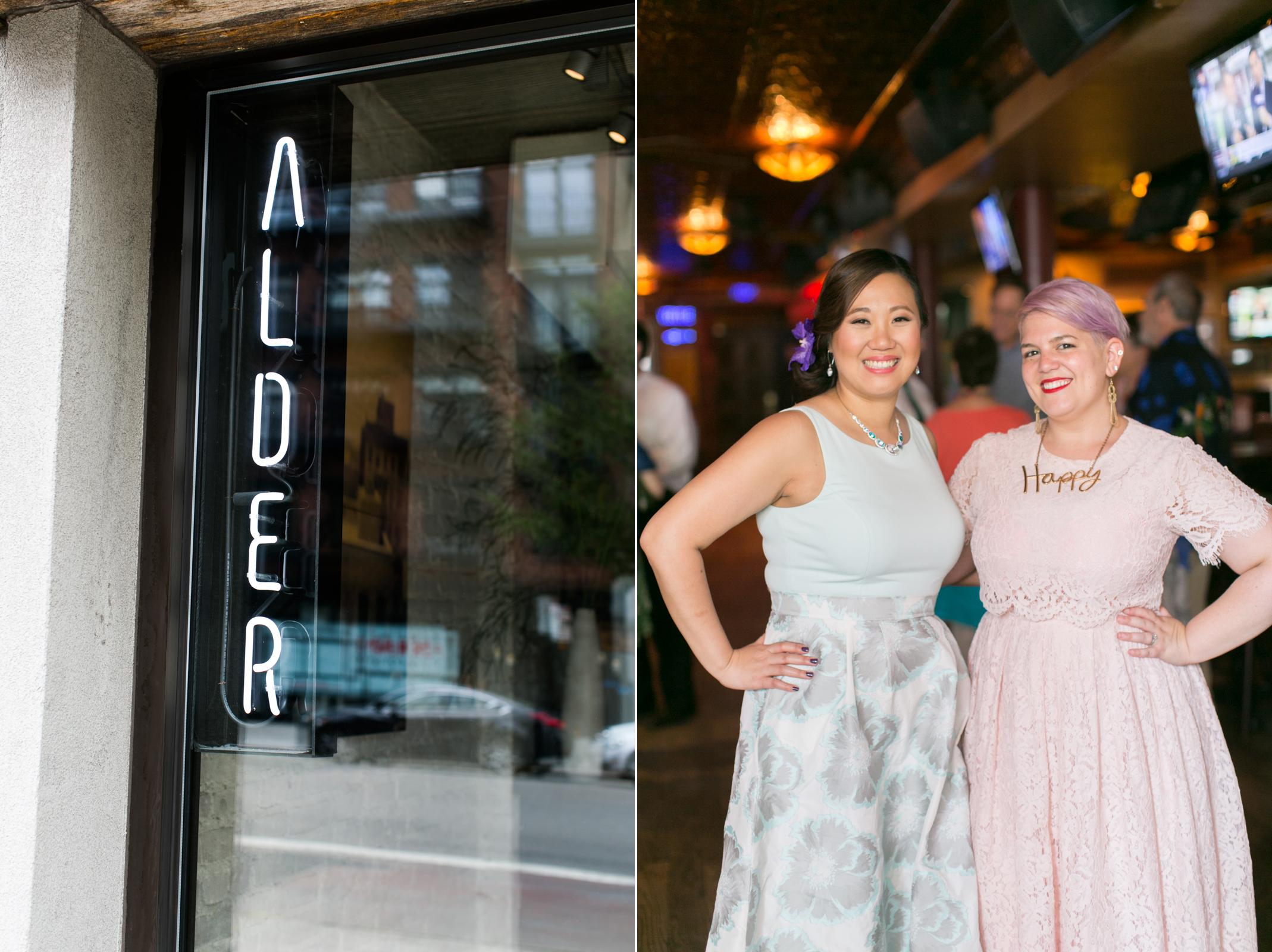 alder & happy bride & guest