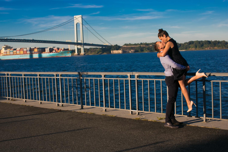 Verrazano Bridge engagement photo