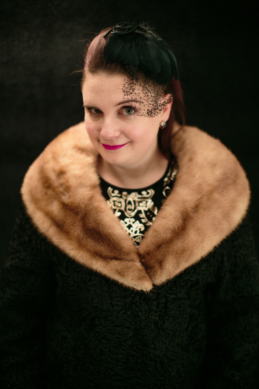 Johanna, in her grandmothers vintage fur and wool coat and amazing hat. Yes to all of this.