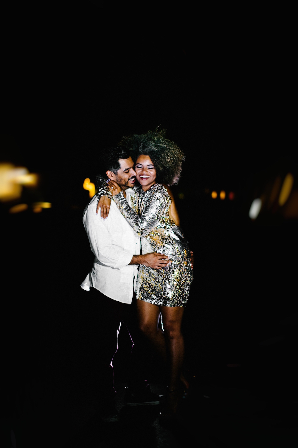 Engagement Photos at Night in Sequined Dress