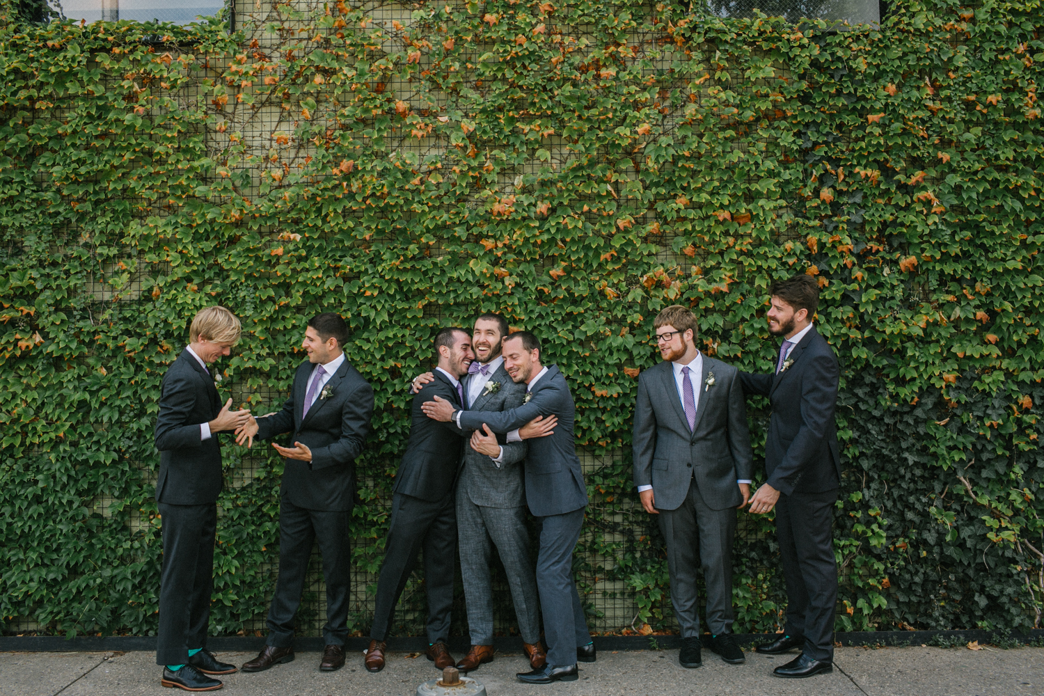Groom and Groomsmen at the Green Building in Brooklyn