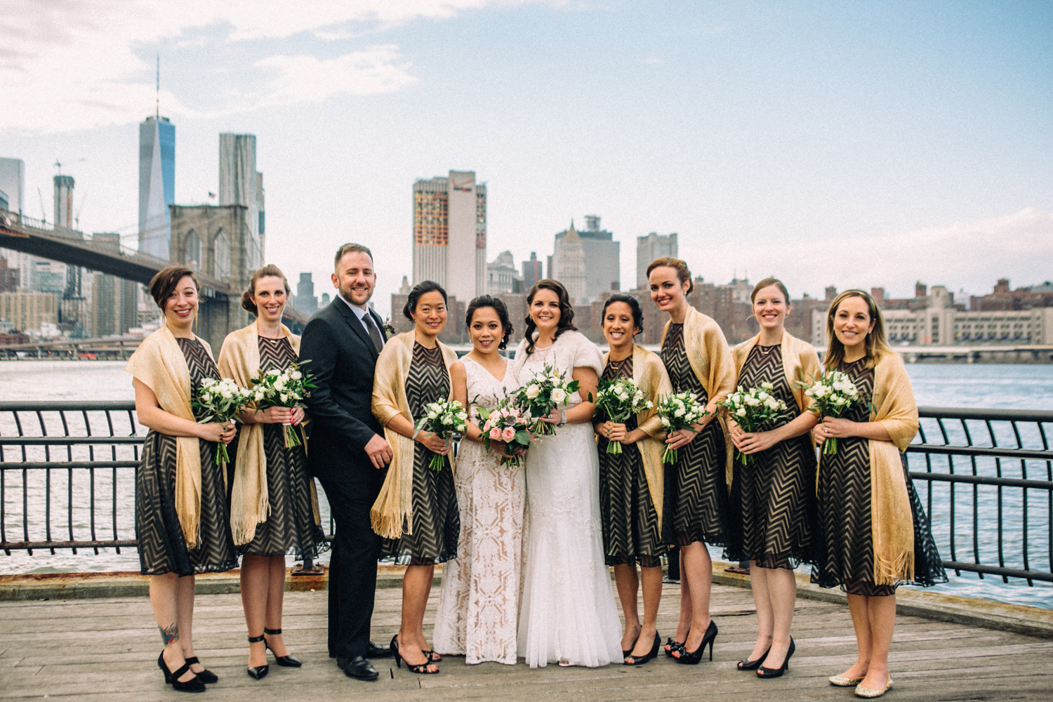 Mixed gender bridal party in Brooklyn | photographed by Amber Marlow, NYC