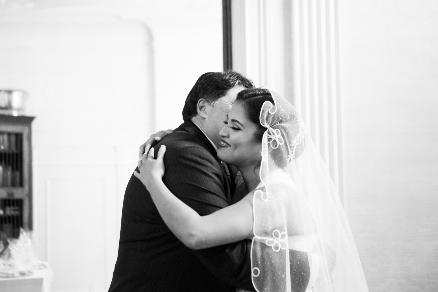 First look with bride and father