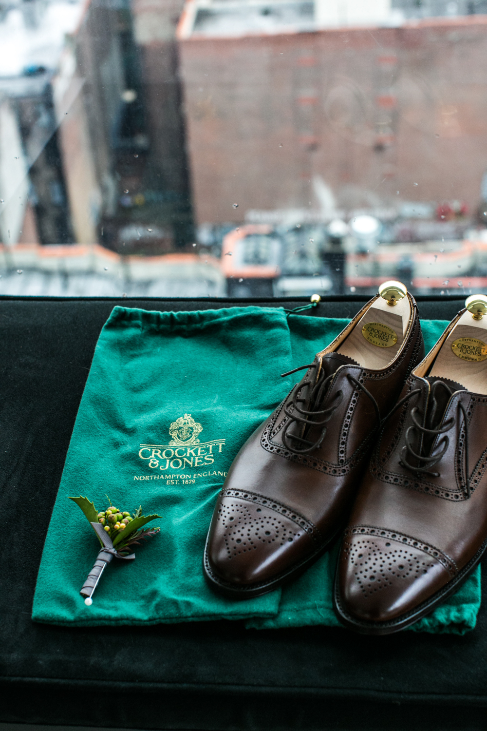 Elopement Groom's Shoes and Flower