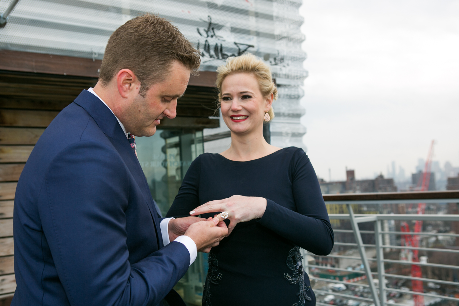 Kym had to be super gentle with during the ring exchange part of the ceremony; she hurt her hand a few weeks before their wedding!