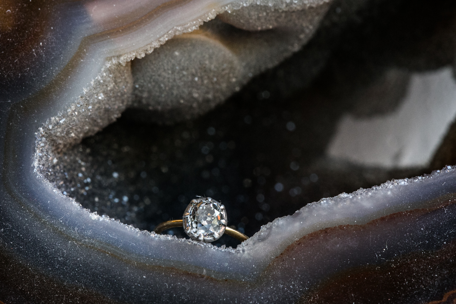 Engagement Ring in a Geode