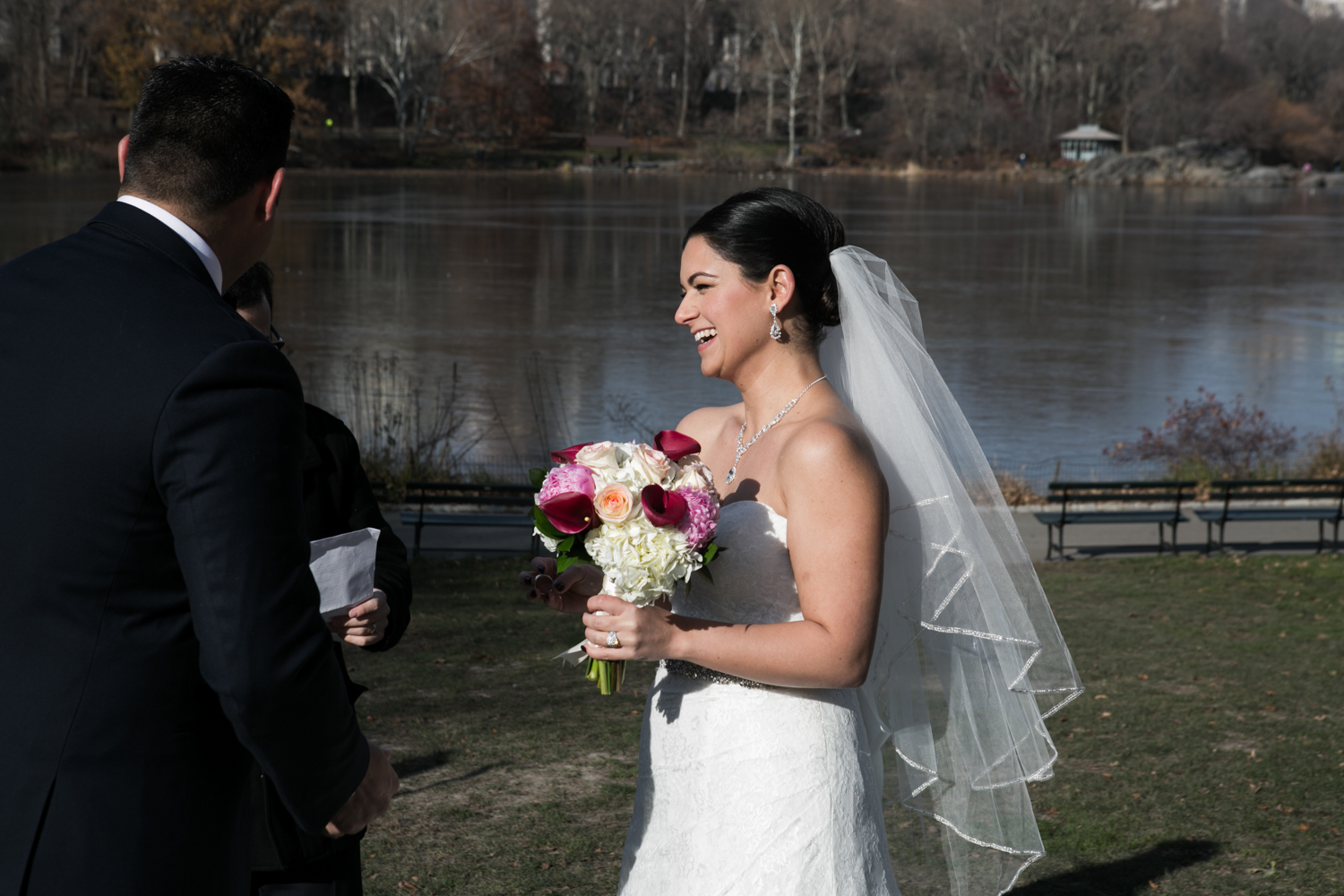 Bride smiling during the wedding ceremony