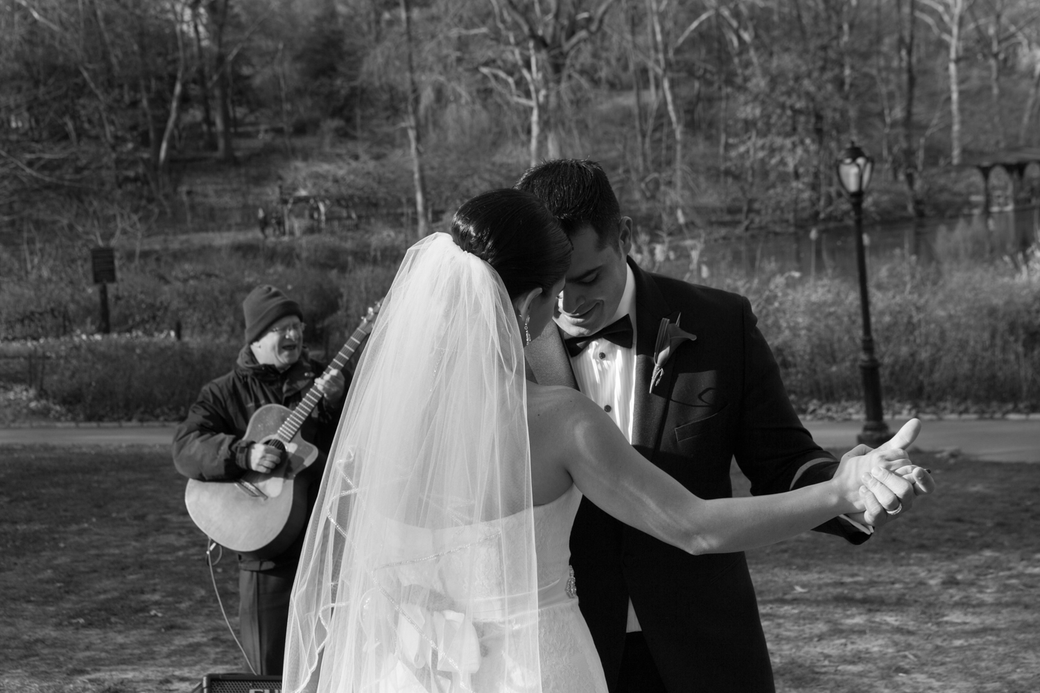 Bride and groom dance to wedding song in Central Park
