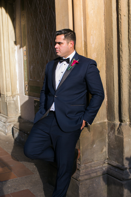 Color portrait of groom by himself