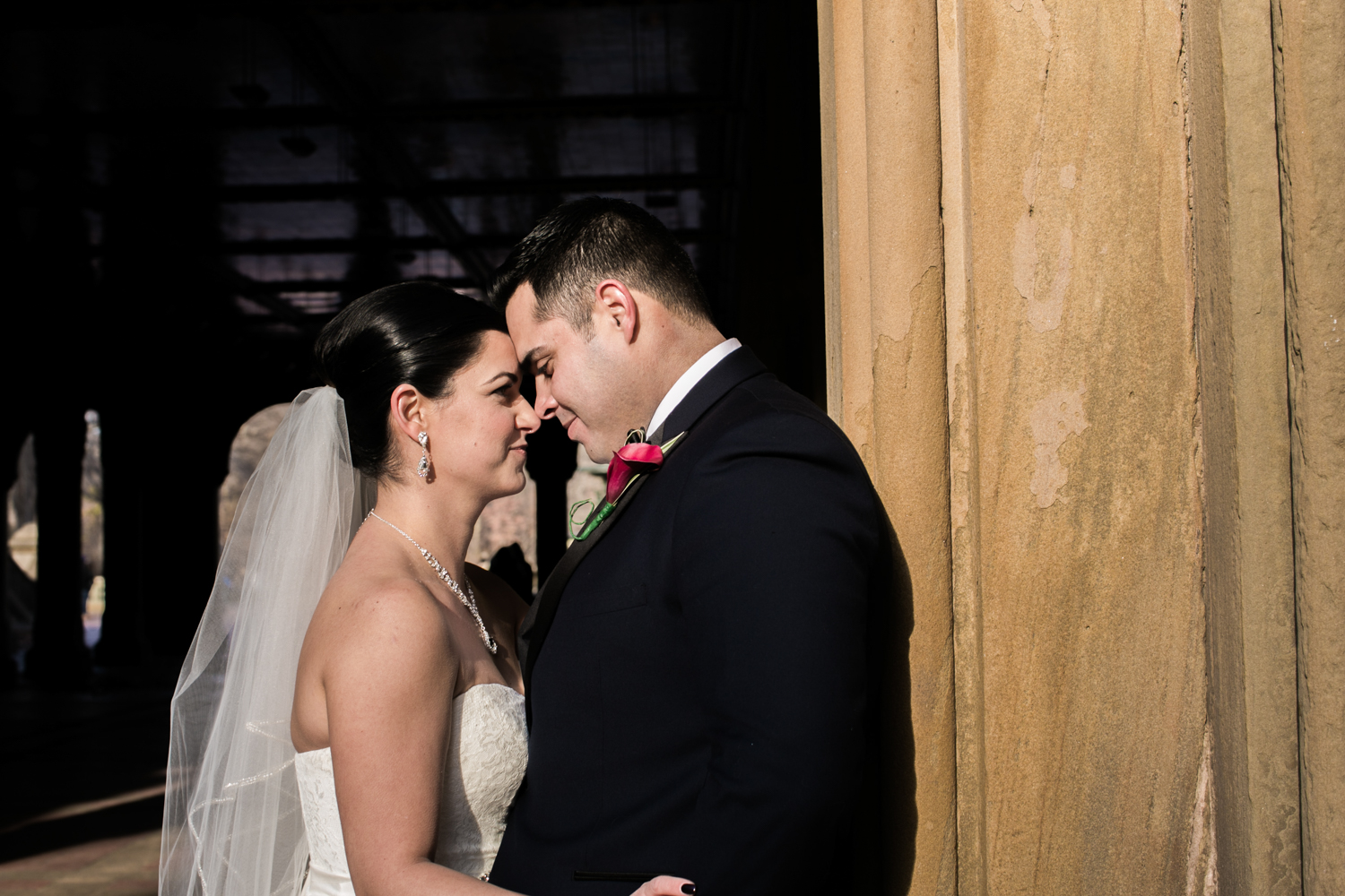 NYC bride and groom close up