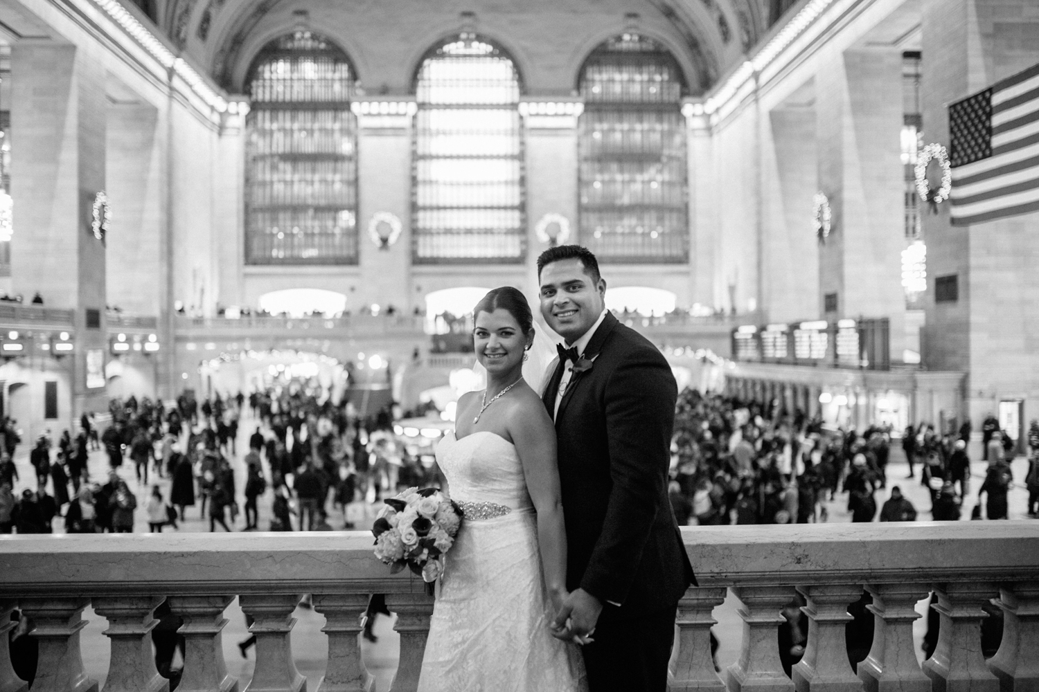 Black and white portrait at grand central station