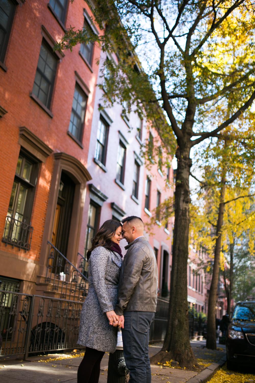 Couple walks through Greenwich Village