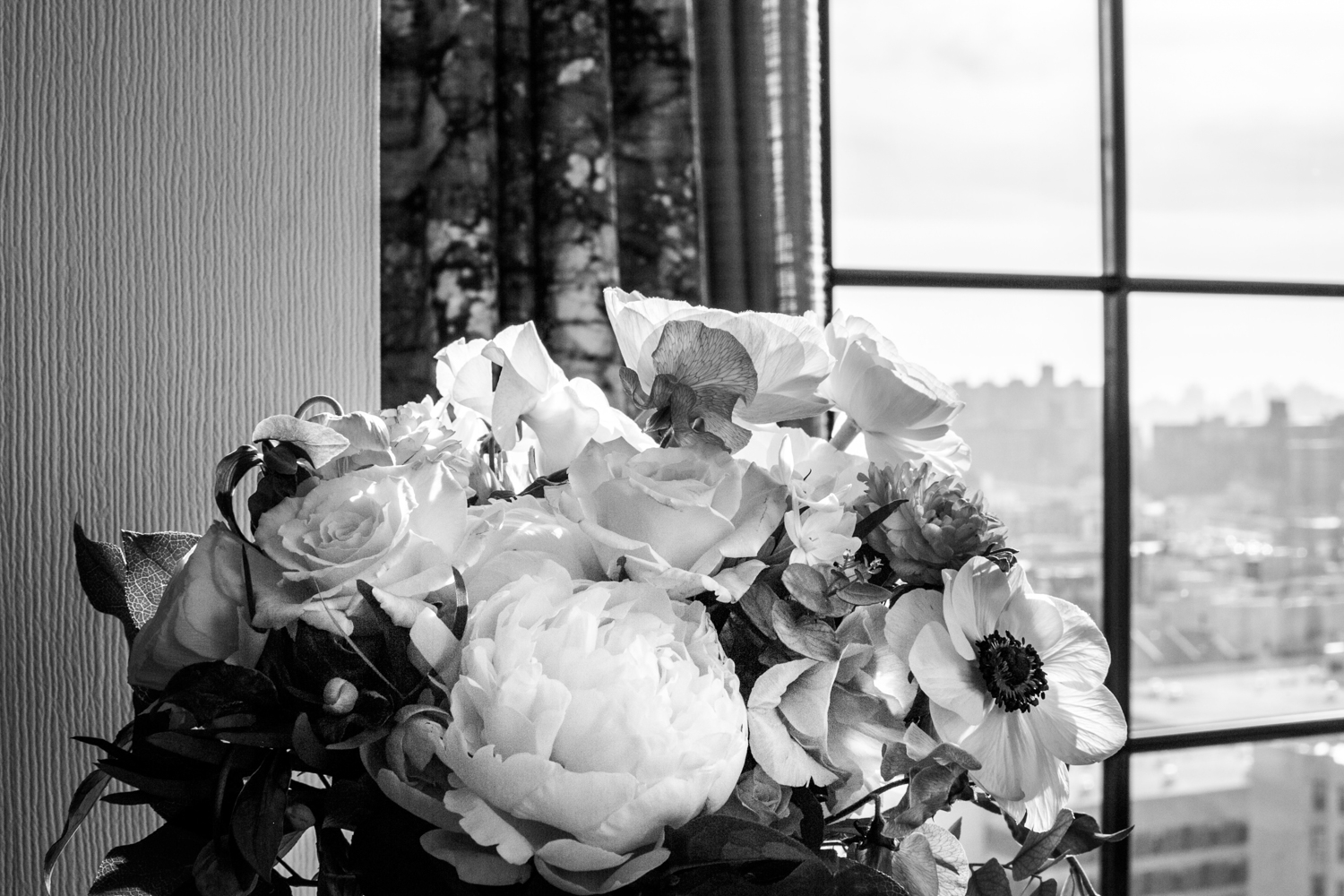 Black and. white portrait of bride's bouquet