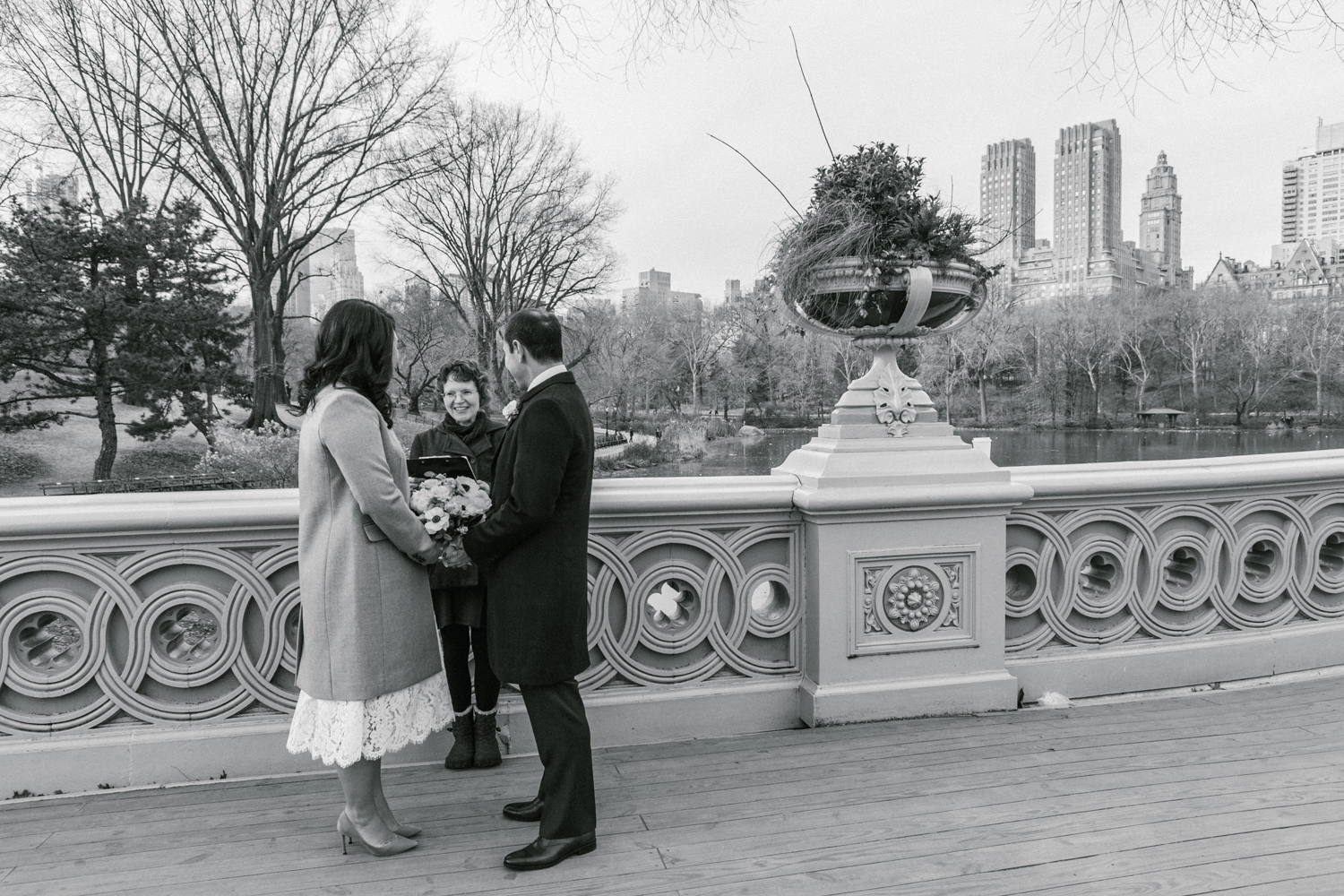 black and white portrait of elopement ceremony