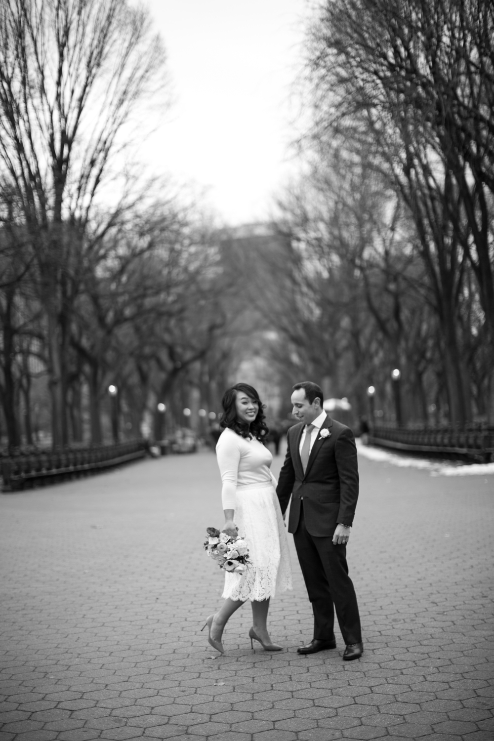 NYC newlyweds portrait in black and white
