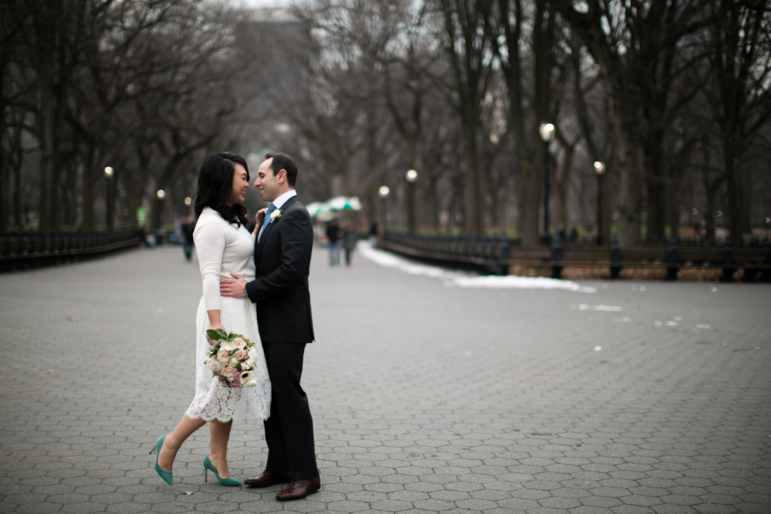 Bride and groom celebrate NYC Elopement