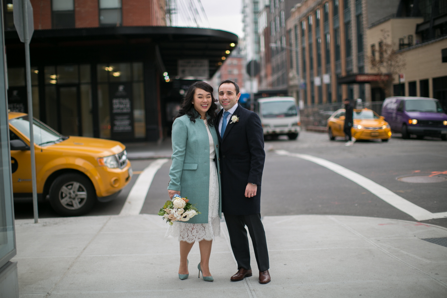 photograph of newlyweds enjoying a walk in NYC