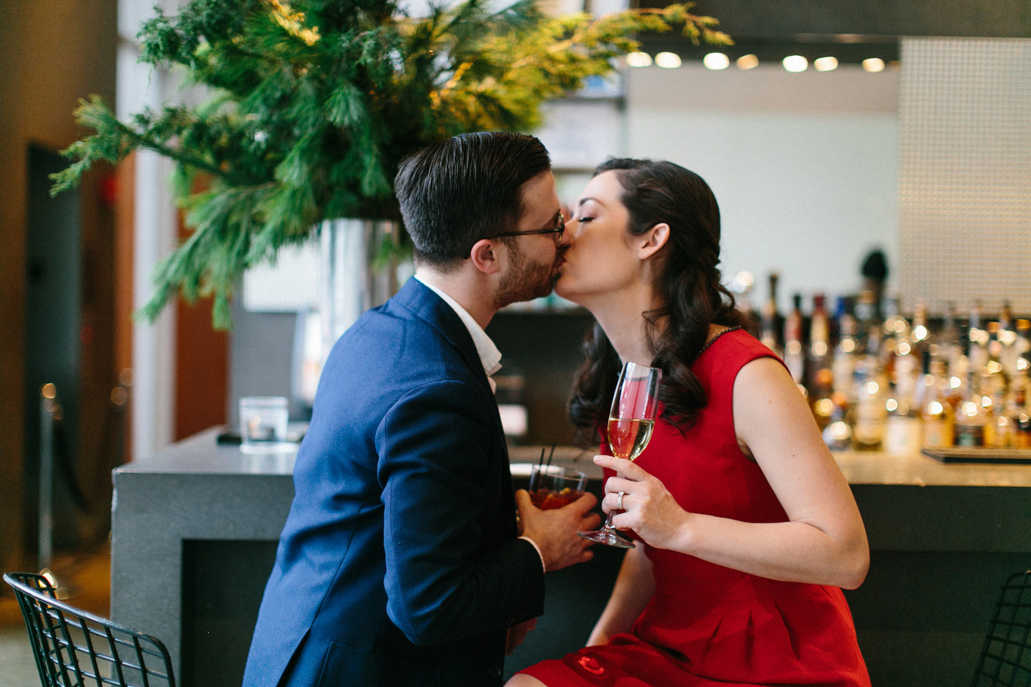 Photograph of engaged couple kissing in NYC