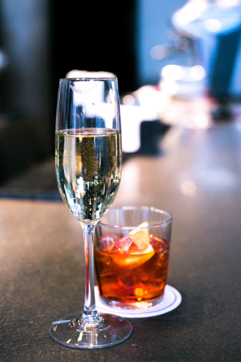 Couple celebrates NYC Engagement with drinks