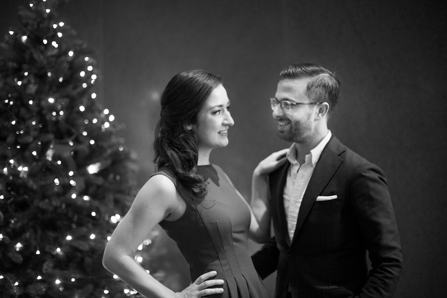 Black and white portrait of New York City engaged couple