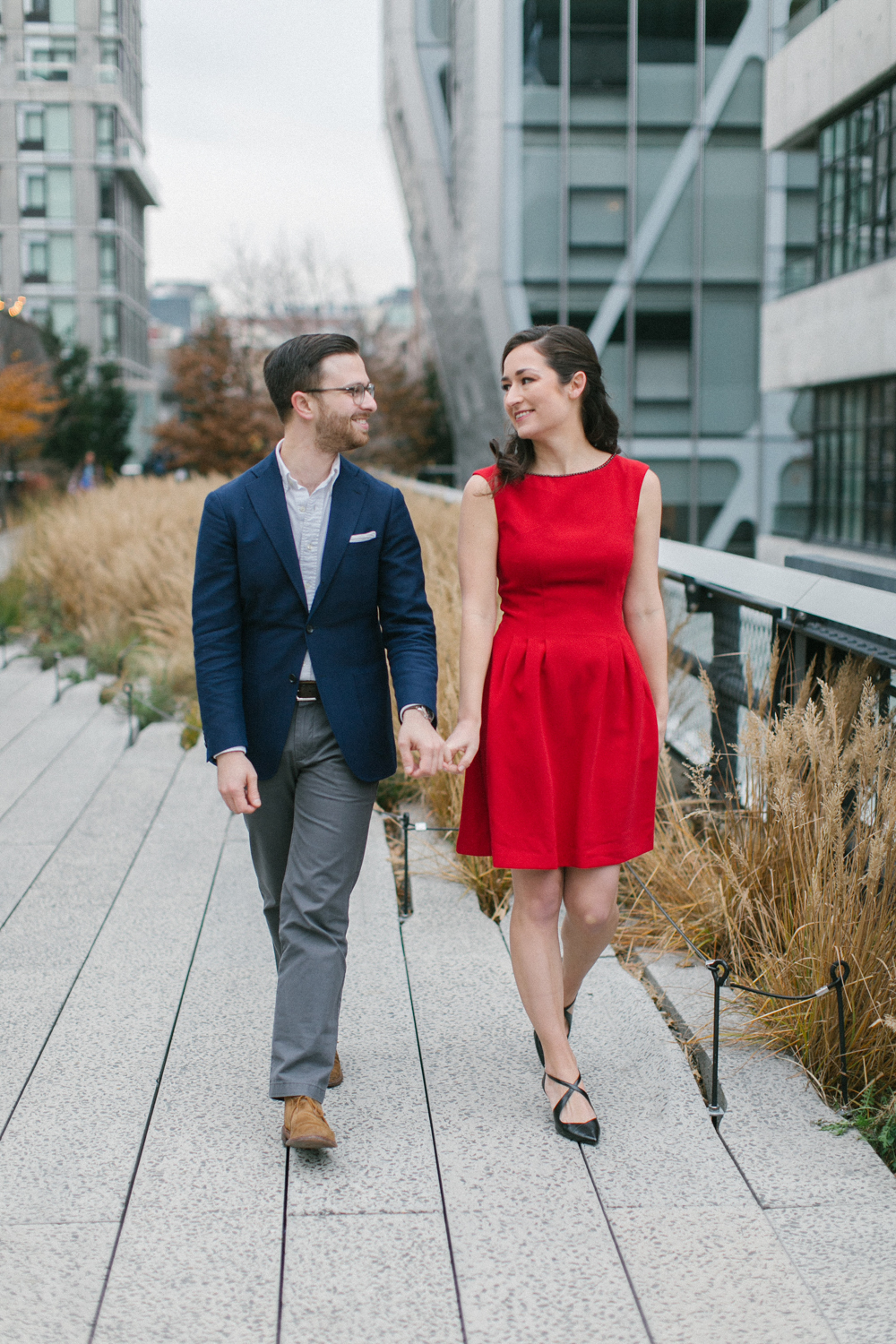Engaged couple taking a walk through NYC
