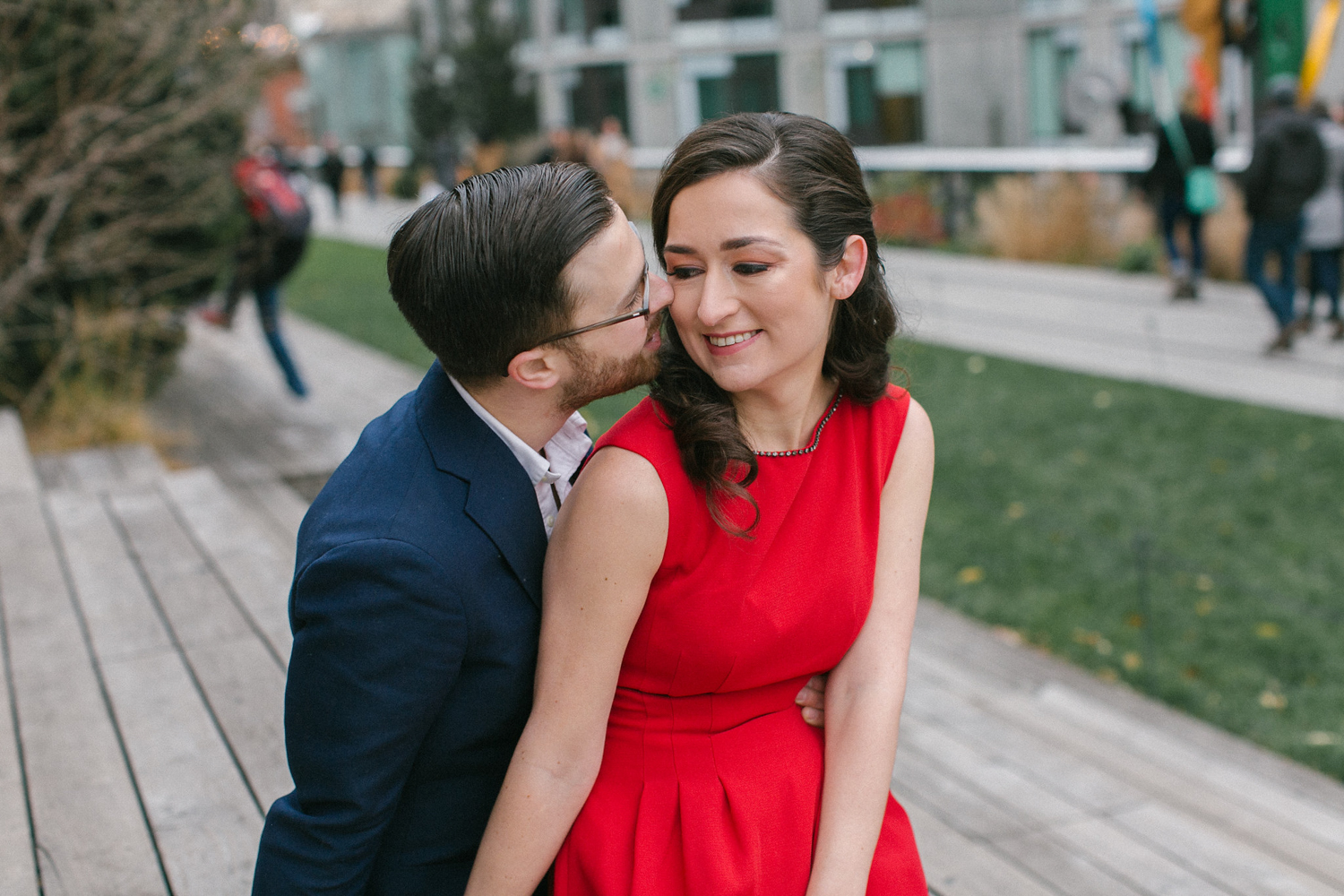 Groom kissing his NYC Bride to be
