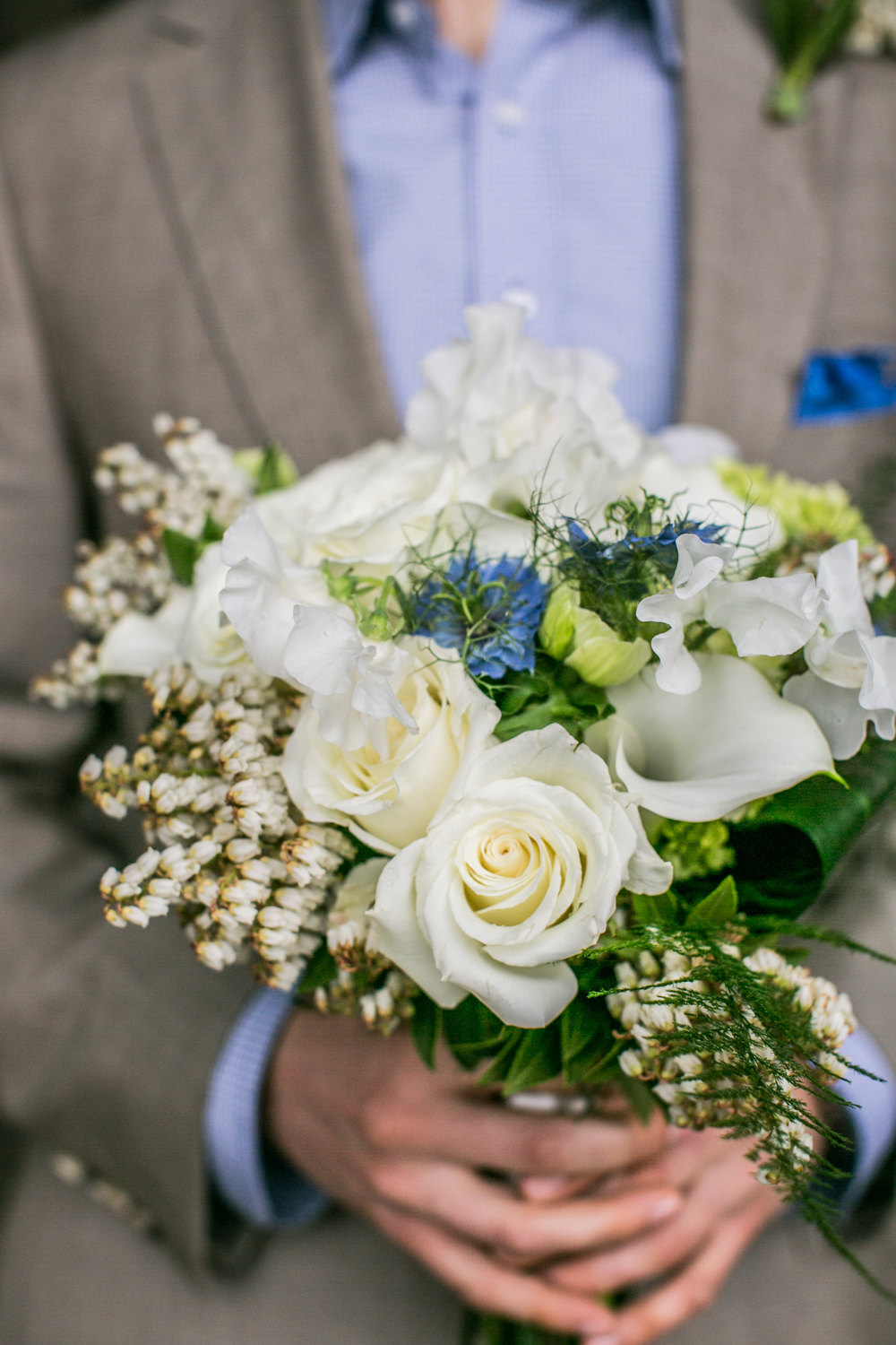 NYC Groom with Edelweiis bouquet