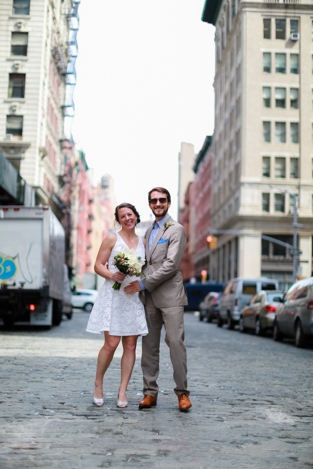 Bride and groom on the streets of New York City