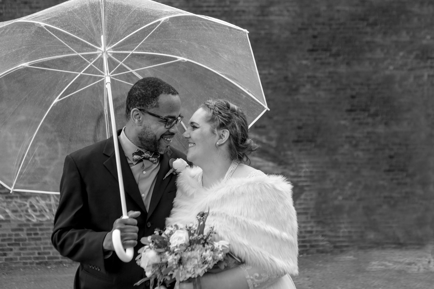 Black and white portrait of NYC bride and groom
