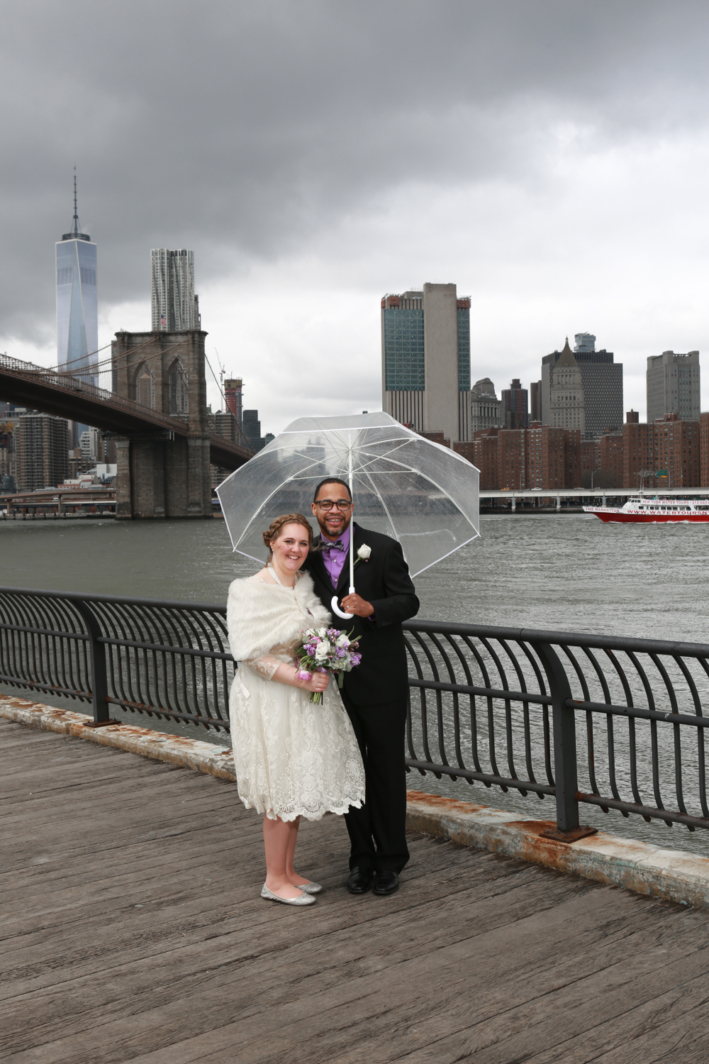 New York City bride and groom on elopement day