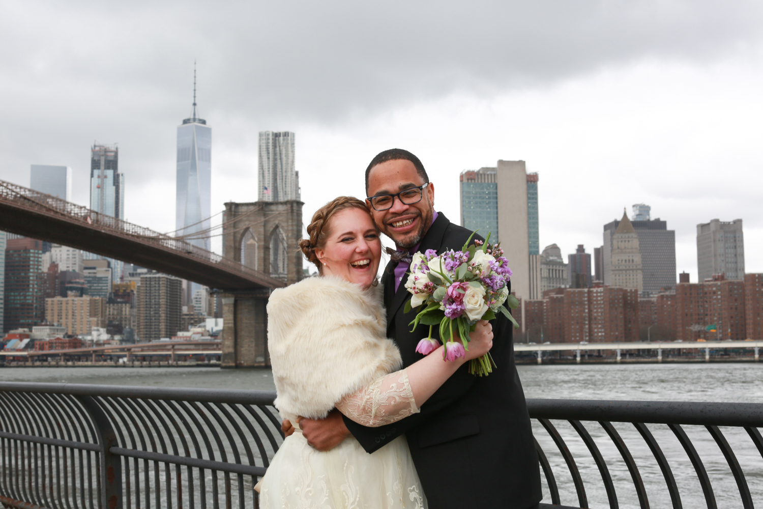 NYC elopement day photoshoot of bride and groom
