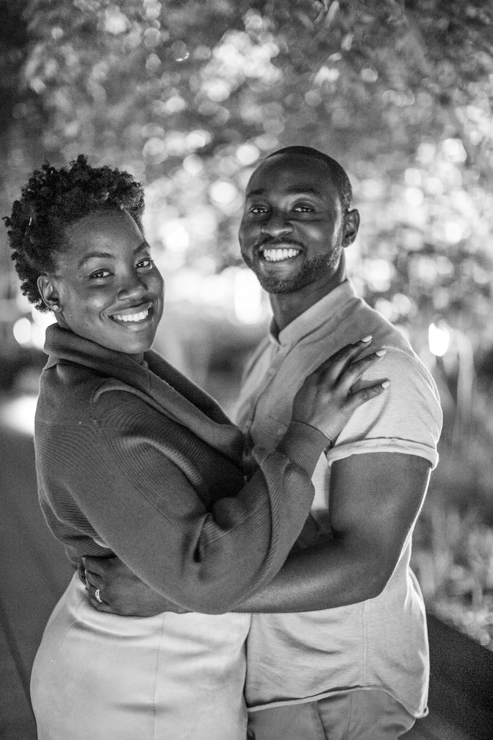 Black and white Photograph of NYC engaged couple