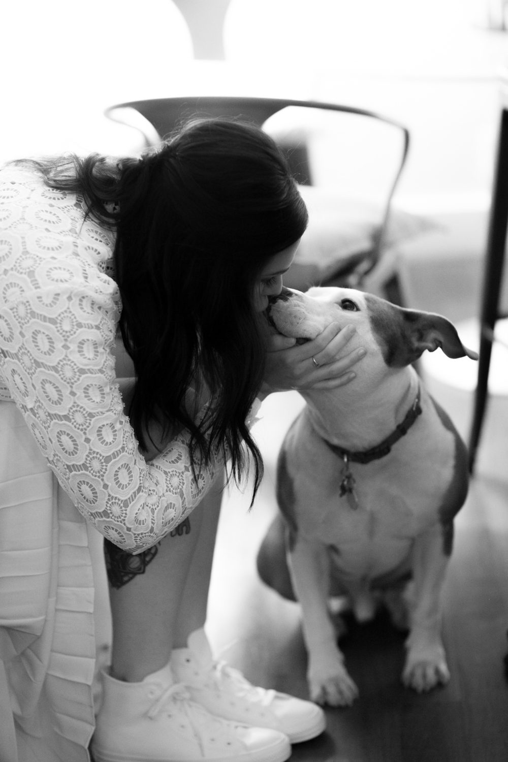 Bride and her dog on NYC elopement day