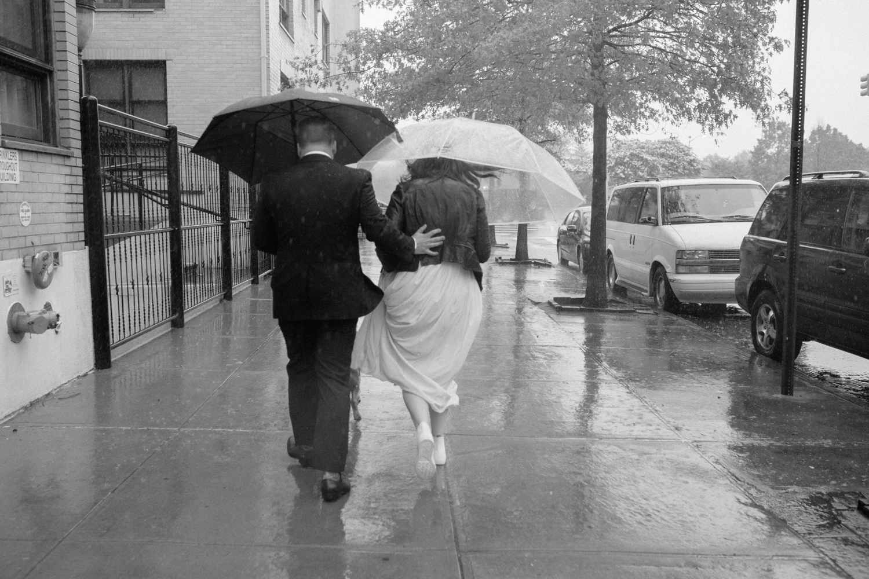 Rainy elopement day in New York city