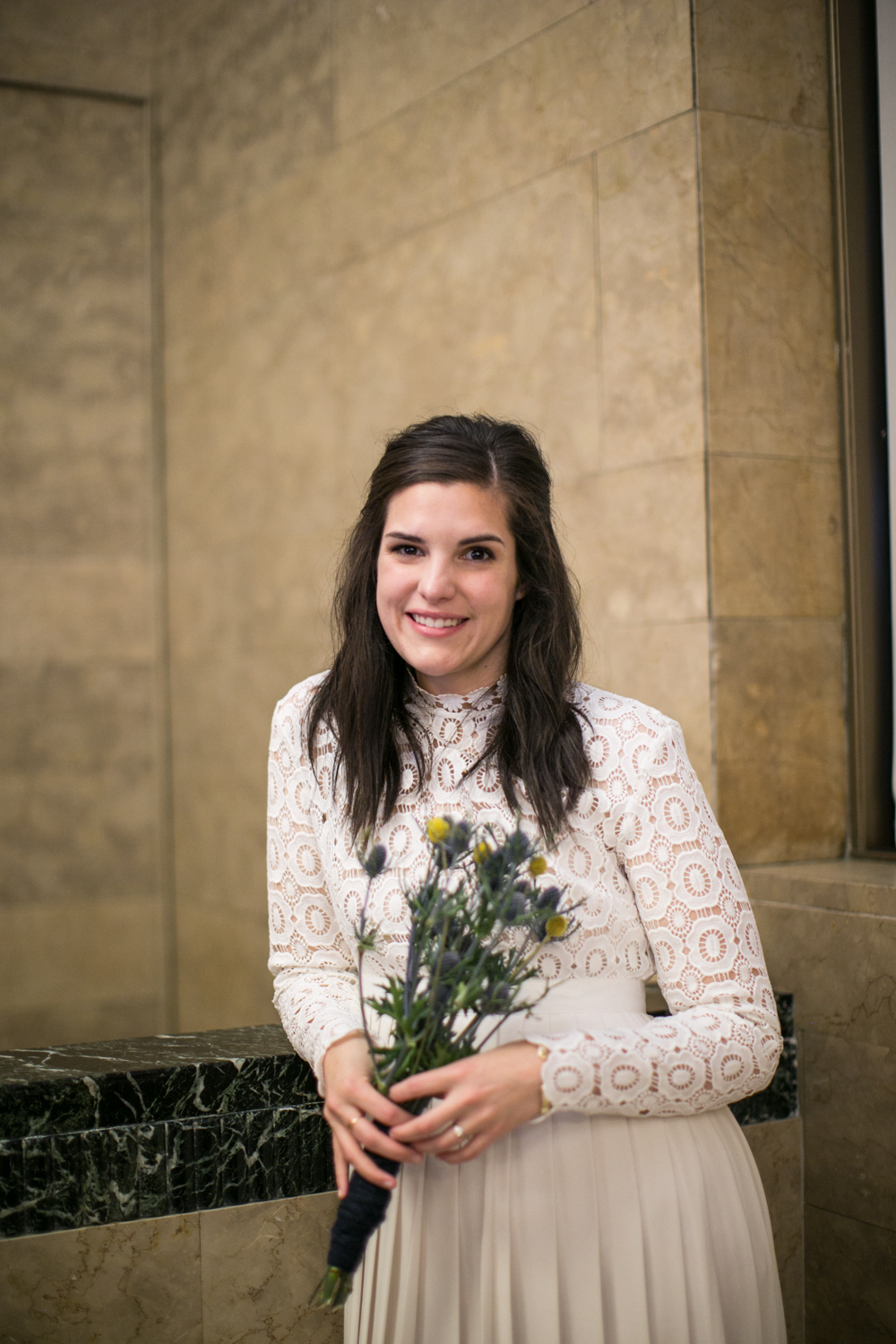 NYC bride with bouquet