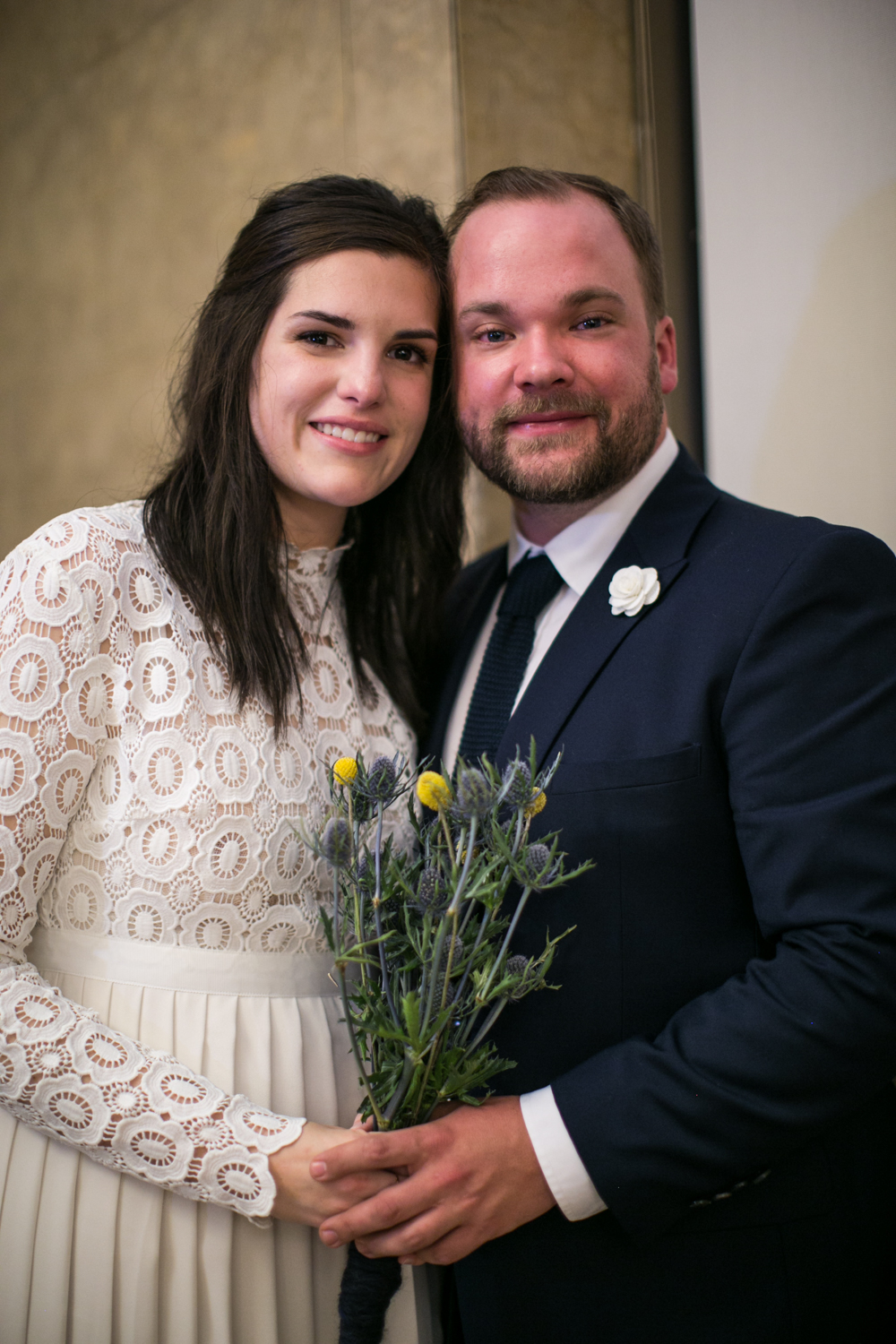 Photograph of bride and groom on elopement day