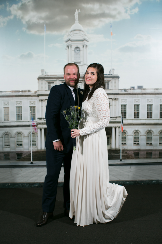 New York City Eloped couple on wedding day