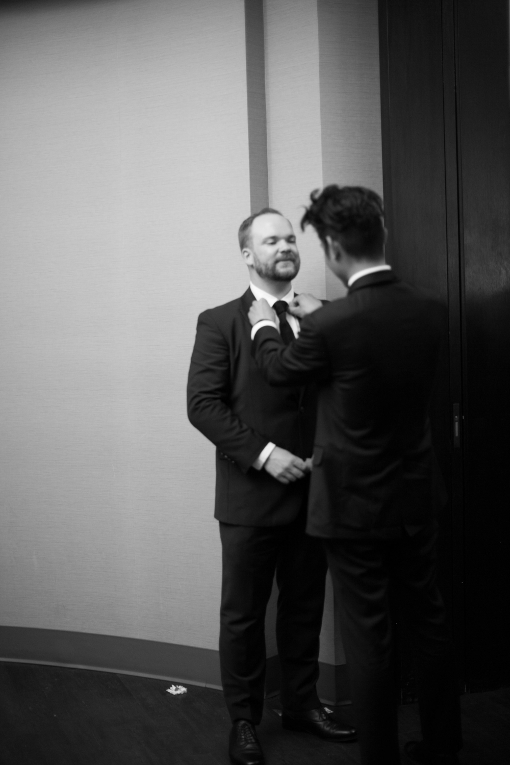 Groom gets ready for elopement ceremony