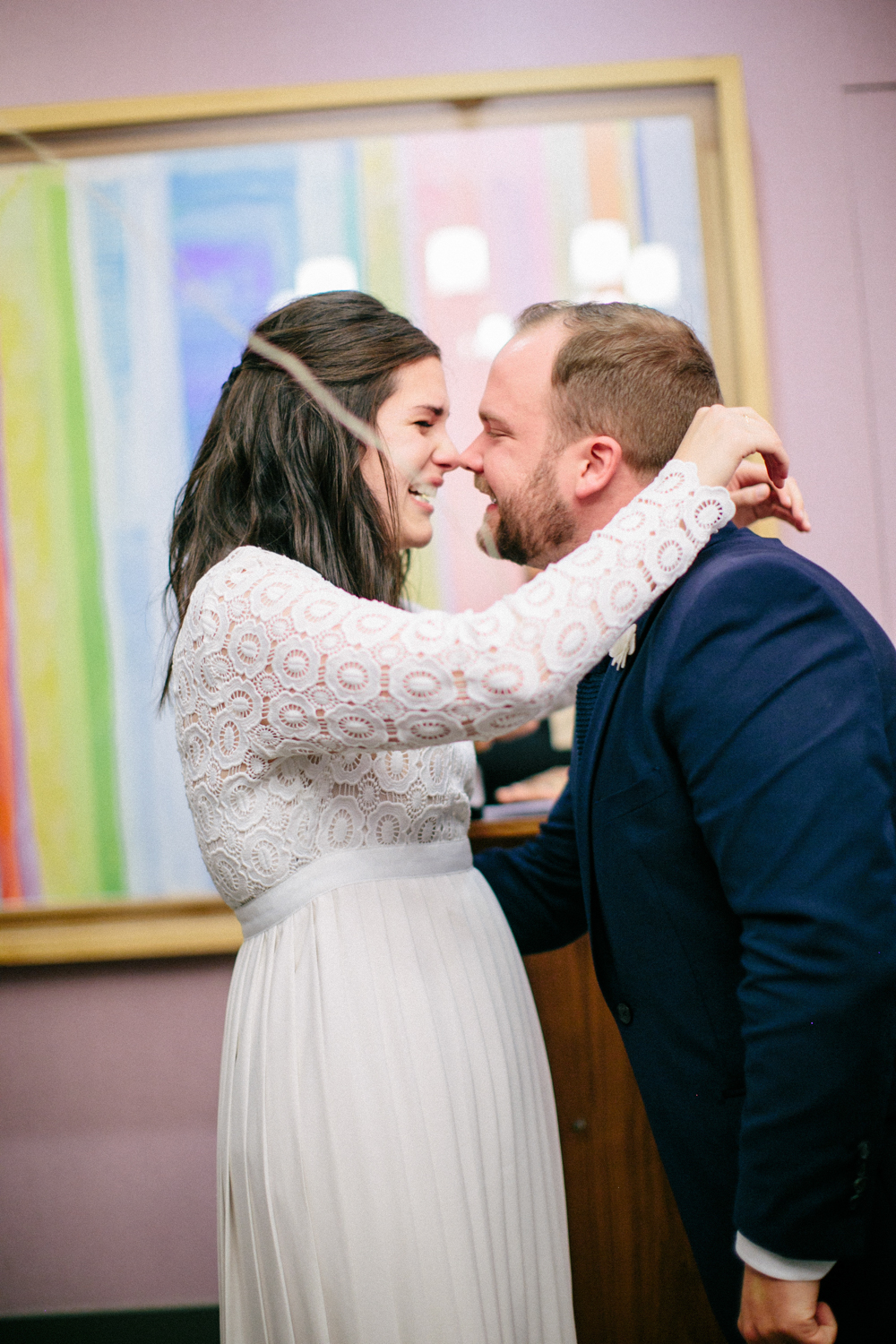 Bride and groom kissing during elopement